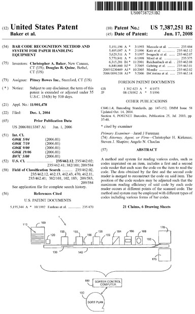 US patent  7387251  Bar code recognition method and system for paper handling equipment