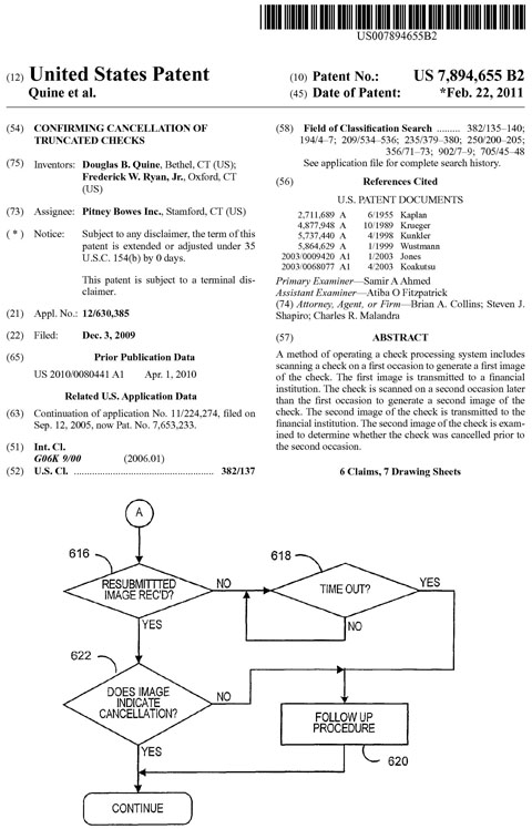 US patent 7894655 Confirming cancellation of truncated checks