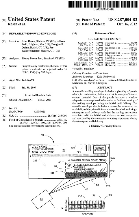 US patent  8287004  Reusable Windowed Envelope