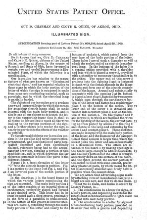 US patent 698256 Illuminated Sign patent