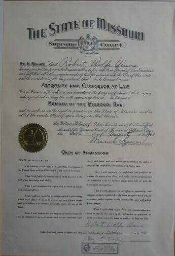 Robert Quine Missouri bar certification
